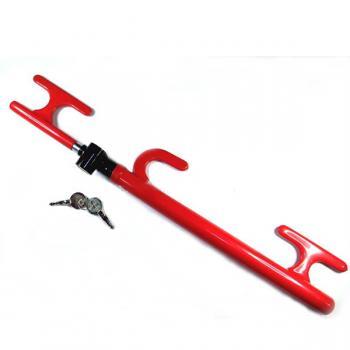 Механический блокиратор для Авто на руль+ педаль+ коробка передач Good music 308 (красный зонтик-вилка)
